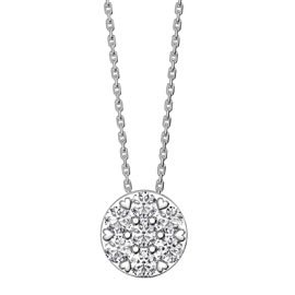 Infinity Pave White Sapphire Halo Platinum plated Silver Pendant