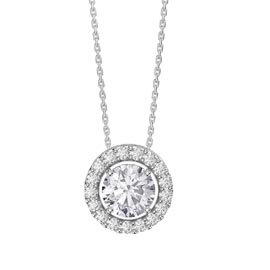 Infinity White Sapphire Solitaire and Halo Platinum plated Silver Pendant Set
