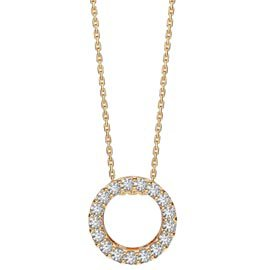 Infinity Circle White Sapphire Halo 18ct Gold Vermeil Pendant