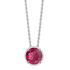 Charmisma 1.0ct Solitaire Ruby Platinum plated Silver Pendant