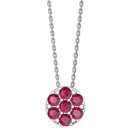 Charmisma Pave Ruby Halo Platinum plated Silver Pendant