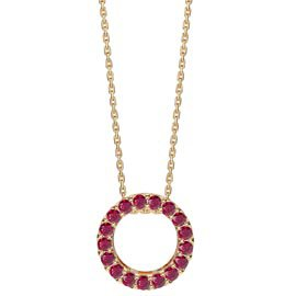 Infinity Circle Ruby Halo 18ct Gold Vermeil Pendant