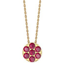 Infinity Pave  Ruby Halo 18ct Gold Vermeil Pendant