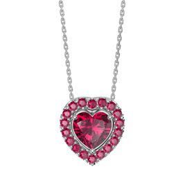 Infinity Heart Ruby Solitaire and Halo Platinum plated Silver Pendant Set