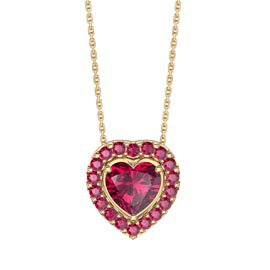 Infinity Heart Ruby Solitaire and Halo 18ct Gold Vermeil Pendant Set