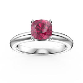 Unity 1ct Cushion cut Ruby Solitaire 18ct White Gold Proposal Ring