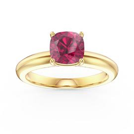 Unity 1ct Cushion cut Ruby Solitaire 9ct Yellow Gold Proposal Ring