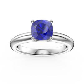 Unity 1ct Blue Sapphire Cushion cut Solitaire 18ct White Gold Proposal Ring