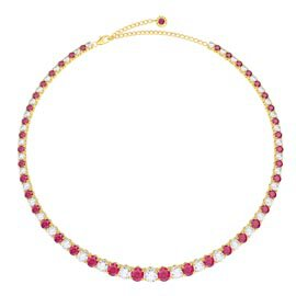 Eternity 30ct Ruby and Diamond CZ 18ct Gold plated Silver Graduated Tennis Necklace