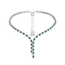 Eternity Asymmetric Drop Emerald and Diamond CZ Rhodium plated Silver Tennis Necklace