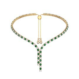 Eternity Asymmetric Drop Emerald and Diamond CZ 18ct Gold plated Silver Tennis Necklace