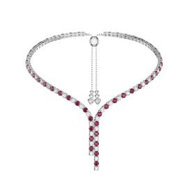 Eternity Asymmetric Drop Ruby and Diamond CZ Rhodium plated Silver Tennis Necklace