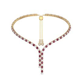 Eternity Asymmetric Drop Ruby and Diamond CZ 18ct Gold plated Silver Tennis Necklace