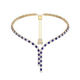 Eternity Asymmetric Drop Sapphire and Diamond CZ 18ct Gold plated Silver Tennis Necklace