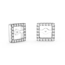 Charmisma White Sapphire Platinum Plated Silver Princess Earring Halo Jackets