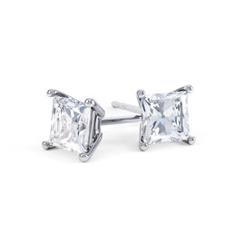 Charmisma 1ct White Sapphire Platinum Plated Silver Princess Stud Earrings