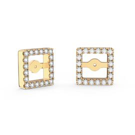 Charmisma White Sapphire 18ct Gold Vermeil Princess Earring Halo Jackets