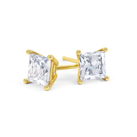 Charmisma 1ct White Sapphire 18ct Gold Vermeil Princess Stud Earrings