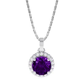 Halo 0.5ct Amethyst Platinum plated Silver Halo Pendant