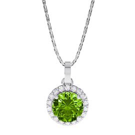 Halo 0.5ct Peridot Platinum plated Silver Halo Pendant