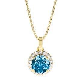 Halo 0.5ct Swiss Blue Topaz 18ct Gold Vermeil Halo Pendant