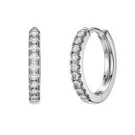Charmisma White Sapphire Platinum plated Silver Hoop Earrings Small