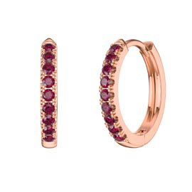 Charmisma Ruby 18ct Rose Gold Vermeil Hoop Earrings
