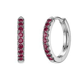 Charmisma Ruby Platinum plated Silver Hoop Earrings