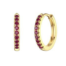 Charmisma Ruby 18ct Gold Vermeil Hoop Earrings