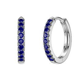 Charmisma Blue Sapphire Platinum plated Silver Hoop Earrings