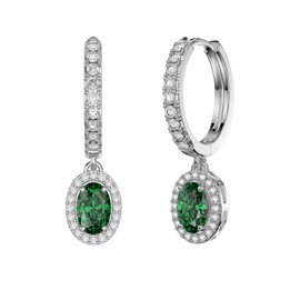 Eternity 1ct Emerald CZ and White Sapphire Oval Halo Drop Hoop Earrings in Platinum plated Silver