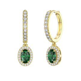 Eternity 1ct Emerald CZ and White Sapphire Oval Halo Drop Hoop Earrings in 18ct Gold Vermeil