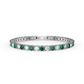Eternity 10ct Emerald and Diamond CZ Rhodium plated Silver Tennis Bracelet