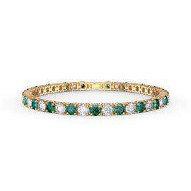 Eternity 10ct Eternity Emerald and Diamond CZ 18ct Gold plated Silver Tennis Bracelet