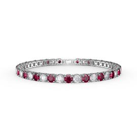 Eternity 10ct Ruby  and Diamond CZ Rhodium plated Silver Tennis Bracelet