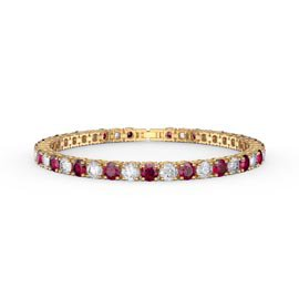 Eternity 10ct Ruby and Diamond CZ 18ct Gold plated Silver Tennis Bracelet