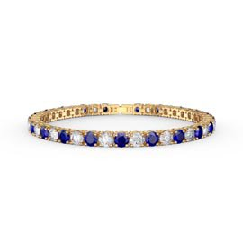 Eternity 10ct Sapphire and Diamond CZ 18ct Gold plated Silver Tennis Bracelet