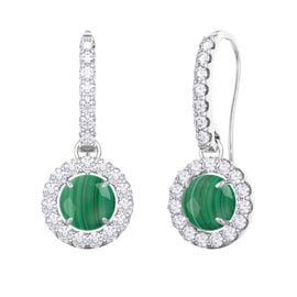 Halo Malachite Platinum plated Silver Pave Drop Earrings
