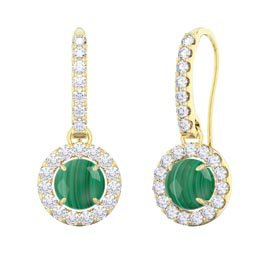 Halo Malachite 18ct Gold Vermeil Pave Drop Earrings