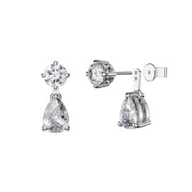 Charmisma 6ct White Sapphire Platinum Plated Silver Pear Earring Set
