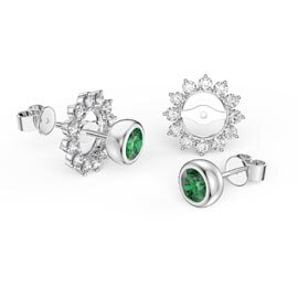 Infinity Emerald 9ct White Gold Stud Starburst Earrings Halo Jacket Set
