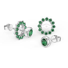 Infinity Emerald Platinum plated Silver Stud Gemburst Earrings Halo Jacket Set