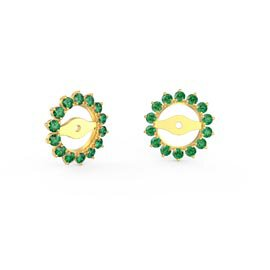 Fusion Emerald 18ct Gold Vermeil Gemburst Halo Earring Jackets