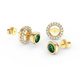 Infinity Emerald and White Sapphire 9ct Yellow Gold Stud Earrings Halo Jacket Set