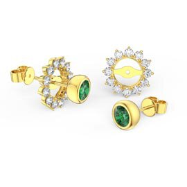 Infinity Emerald 18ct Yellow Gold Stud Moissanite Starburst Earrings Halo Jacket Set