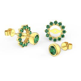 Infinity Emerald 18ct Gold Vermeil Stud Gemburst Earrings Halo Jacket Set