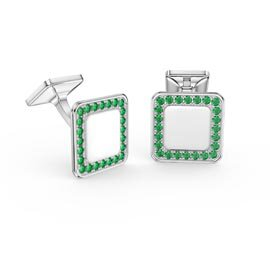 Signature Emerald Platinum plated Silver Cushion Cufflinks