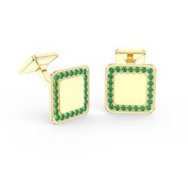 Signature Emerald 9ct Yellow Gold Cushion Cufflinks