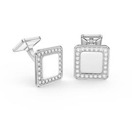 Signature White Sapphire Platinum plated Silver Cushion Cufflinks