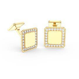 Signature Moissanite 9ct Yellow Gold Cushion Cufflinks